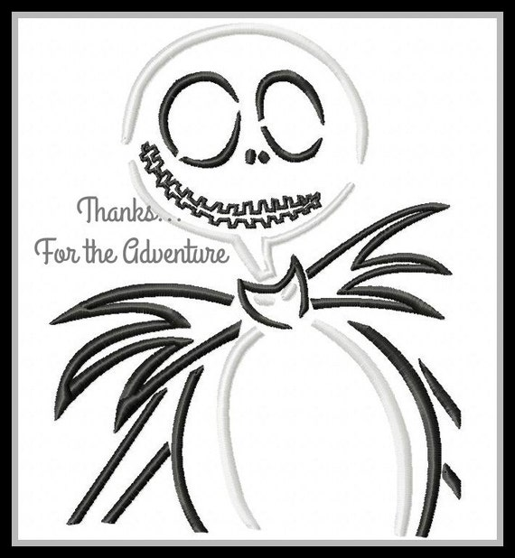 Christmas Sketches.Jack Skellington From Nightmare Before Christmas Sketch Digital Embroidery Machine Design File 4x4 5x7 6x10