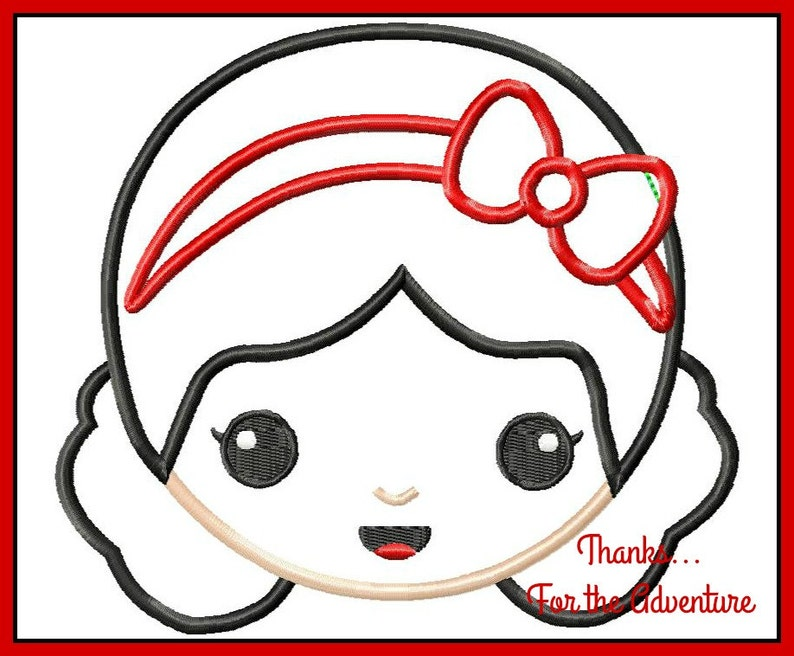 Princess Snow White Emoji Digital Embroidery Machine Applique Design File  4x4 5x7 6x10