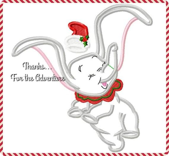 Christmas Santa Dumbo Flying Baby Elephant Digital Embroidery | Etsy
