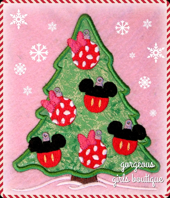 Minnie Mouse Christmas Tree Decorations.Mickey And Minnie Mouse Christmas Tree Ornament Digital Embroidery Machine Applique Design File 5x7 6x10 8x12