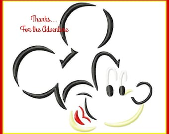 Mickey Mouse Sketch Digital Embroidery Machine Applique Design File 4x4 5x7 6x10