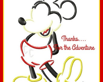 Mickey Mouse Sketch Digital Embroidery Machine Design File 4x4 5x7 6x10