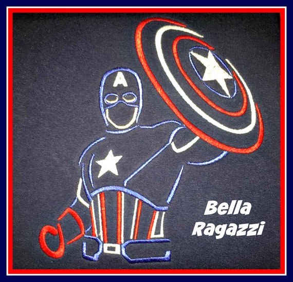 Details about  /Personalized Captain America Mousehead Shirt machine embroidered
