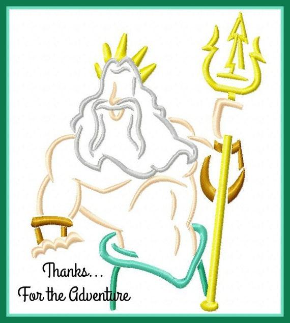 Rey Tritón del pequeña sirena Dibujo bordado Digital diseño de | Etsy