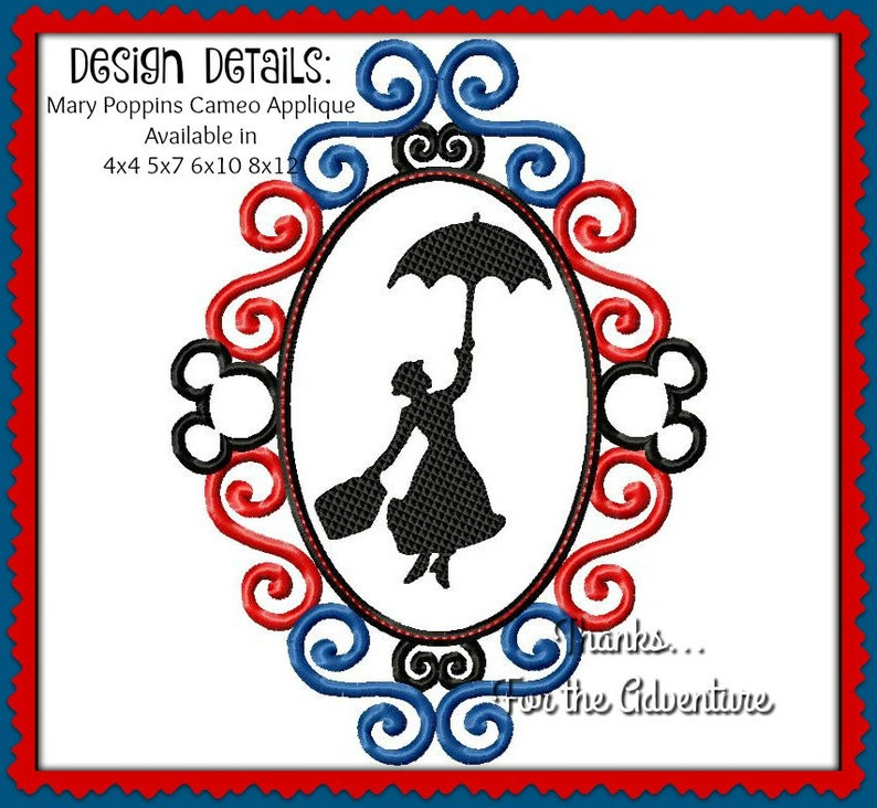 378ddbd7bbbed Mary Poppins Cameo Applique Digital Embroidery Machine Design File 4x4 5x7  6x10 8x12