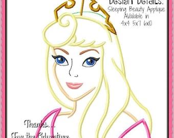 Sleeping Beauty Princess Aurora Bust  Blue Pink Dress Digital Embroidery Machine Applique Design File 4x4 5x7 6x10