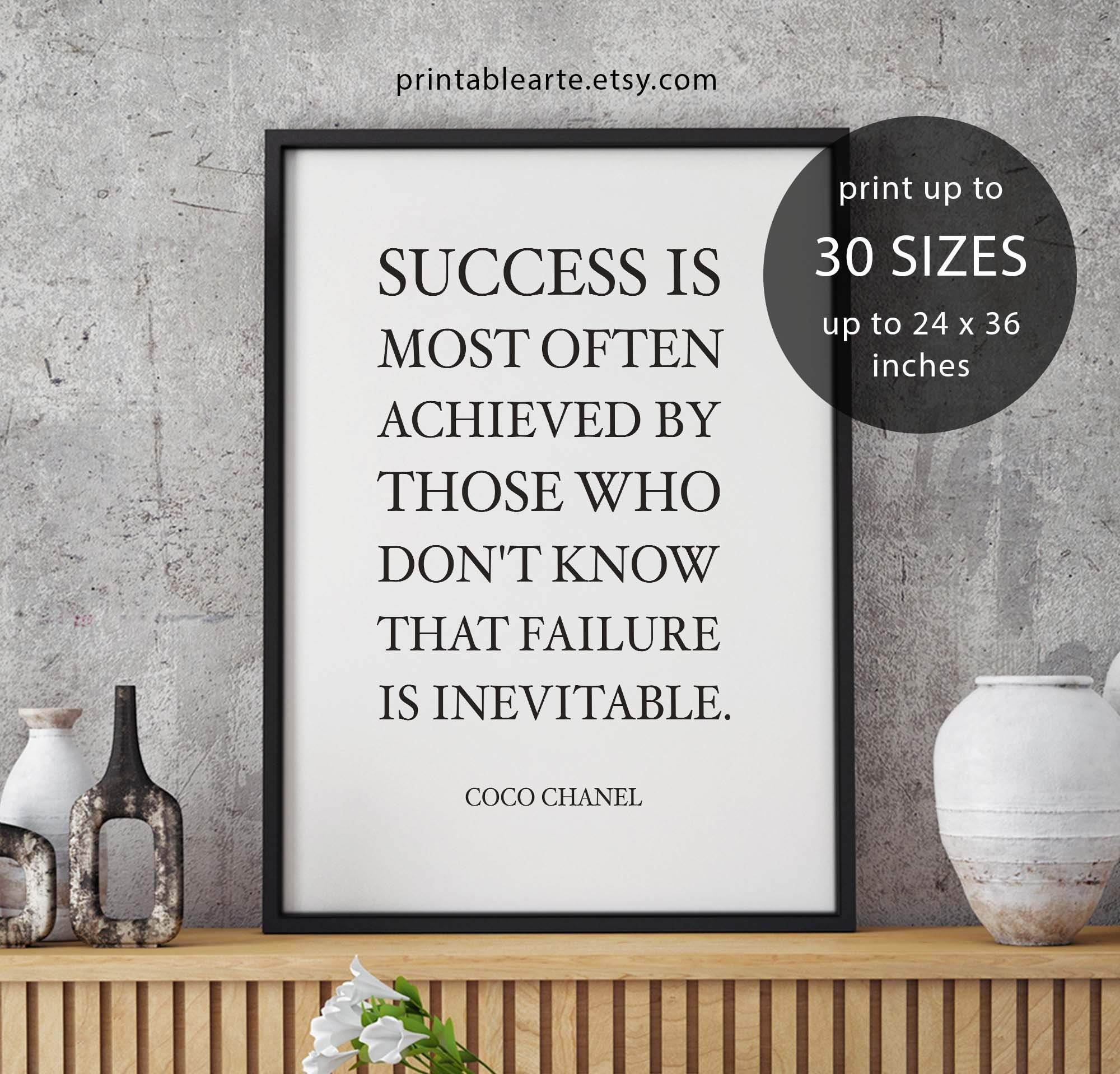Coco Chanel Quote Success Is Most Often Achieved By Darling Etsy