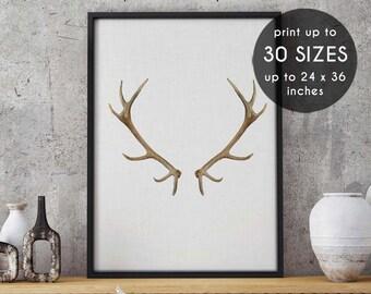 Deer print, antlers print, deer antler print, deer wall art, wall art, antler art, deer antlers, printable art, antler print,black,white, 45