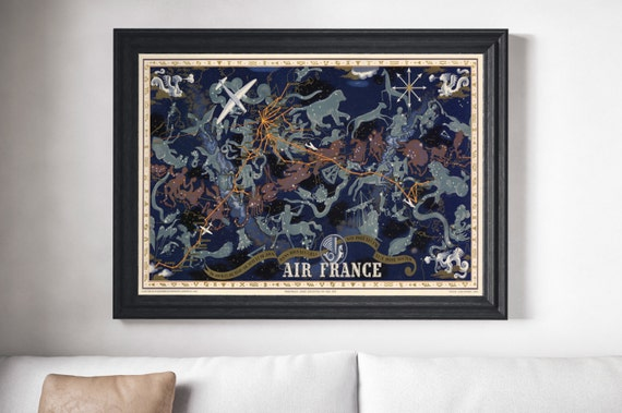 Canvas Wall Art Vintage 1939 Air France Constellation Map   Etsy