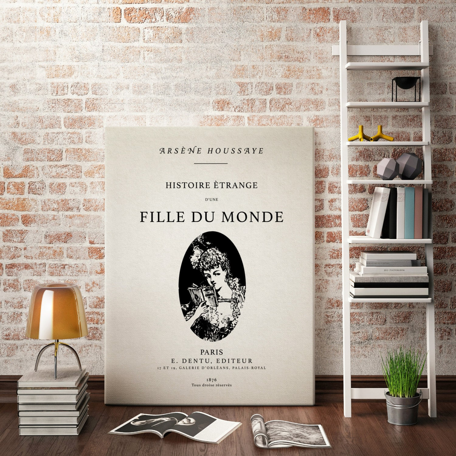 """Canvas Wall Art - Vintage Book Cover - """"Histoire Étrange d'Une Fille du  Monde / The Strange History of a Girl in the World"""" - French Decor"""