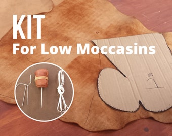 DIY - KIT For Moccasin Making : Leather & Tools /  for Heart and Moon Style / DIY Barefoot Shoes / Soft-Sole Earthing Moccasins