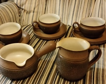 Vintage Denby Cotswold rustic brown tan white England