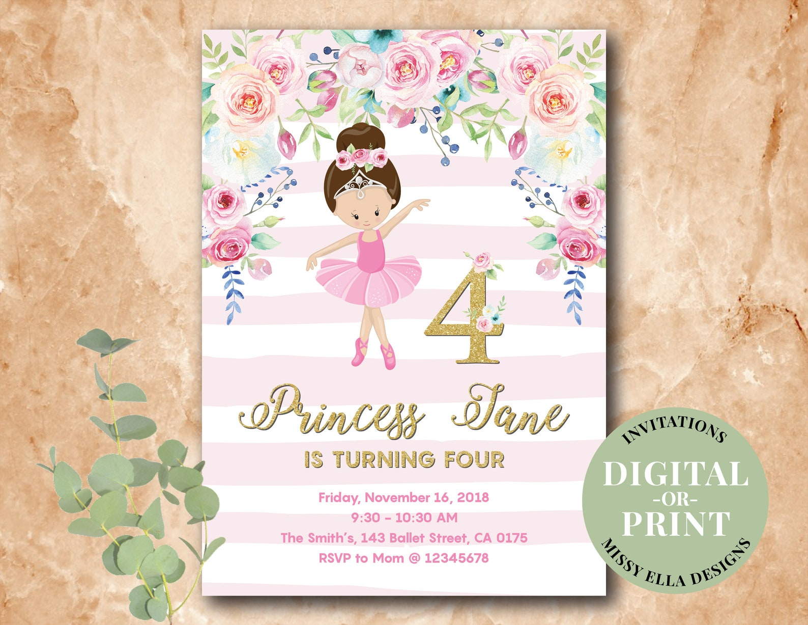 ballerina invitation • floral invitations • birthday invitation • baby shower invitation • pastel flowers, pink ballet, gold gli