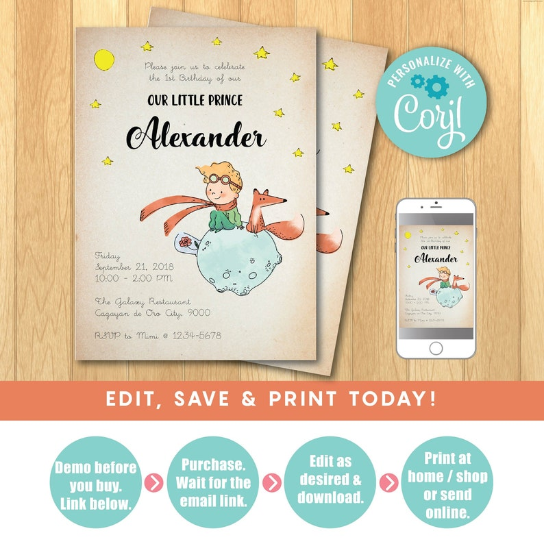 Editable The Little Prince Invitation Little Prince Party Etsy