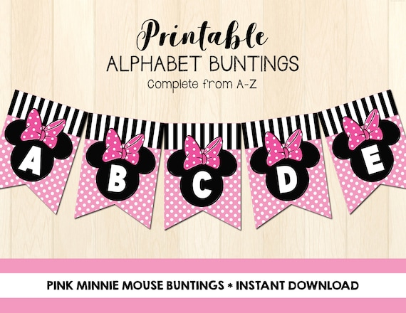 graphic relating to Minnie Mouse Printable called Minnie Mouse Buntings Printable - Immediate Down load - Do it yourself Celebration Decor - Minnie Mouse Banner - Printable Banner - Alphabet Buntings A-Z