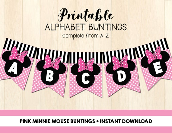 image about Minnie Mouse Printable referred to as Minnie Mouse Buntings Printable - Fast Obtain - Do it yourself Celebration Decor - Minnie Mouse Banner - Printable Banner - Alphabet Buntings A-Z