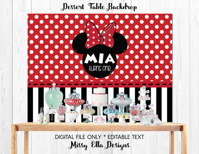 Digital File Red Minnie Mouse Dessert Table Backdrop Etsy
