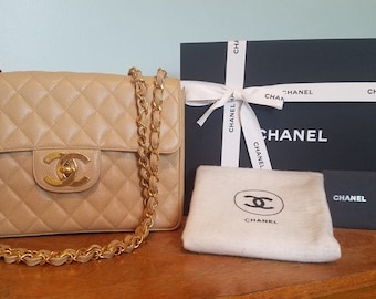 Authentic CHANEL Vintage Tan Caviar Flap Bag GHW 24k Gold Plated w/Auth Card, Magnetic Box