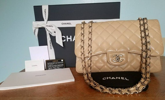 0a59e530ed72 Authentic CHANEL Beige Caviar Jumbo/Maxi Flap Bag SHW