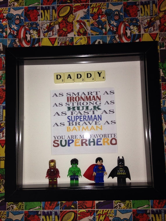 Daddy youre my favourite superhero picture frame with scrabble | Etsy