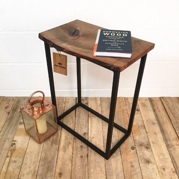 Steel English Walnut Wood Side Table Handmade Furniture Etsy