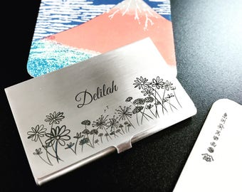 Personalized business card holder etsy love and quotes custom engraved business card holder case reheart Choice Image