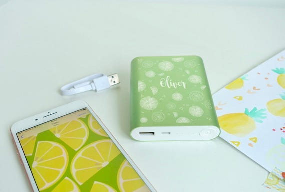 Personalised 'lemon n lime' green power bank battery charger with custom engraving summer mobile accessory gift