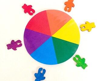 Colour Matching Wheel & Wooden Rainbow Teddy Bears, Teaching Aid, Classroom Resource, Montessori Educational Activity