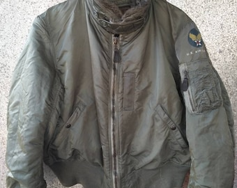b7ddb24538c Vintage 60s 70s Vintage Alpha Industries USAF Zipper Jacket B15D Jacket  Flying Intermediate made in Usa Green Olive Army US Airforce scovill