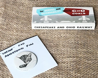 Chessie Cat Pin & Chesapeake And Ohio Railway Matchbook Collection ~ Advertising Set ~ Vintage Collectible