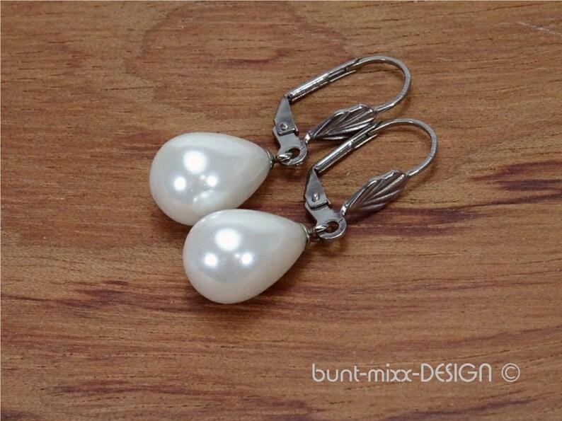 by BuntMixxDesign Earpiece shell bead drop white folding bridge antique silver color gift for women elegant