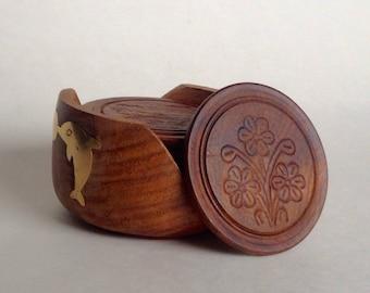 Vintage carved wood coaster set, wooden coaster set, hand carved wood coasters, wood and brass coasters, home decor,