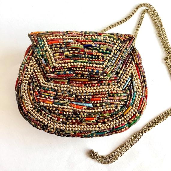 Beaded handbag // multi-colour beaded handbag// Gl