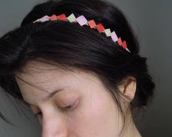 Headband, leather headband ivory pink coral CORRAGRAPHIK.