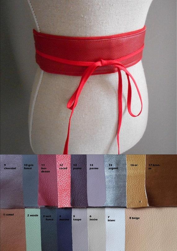f3845e341f49 Ceinture à nouer cuir et tissu personnalisable obi serre   Etsy