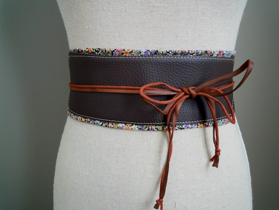 Ceinture obi cuir marron foncé et tissu fleuri boho corset   Etsy 0976706f40b