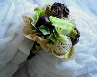 Bouquet de mariée blanc, ivoire, anis marron, fleurs éternelles, fleurs artificielles.