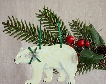 Polar Bear Hand Painted Winter Ornament