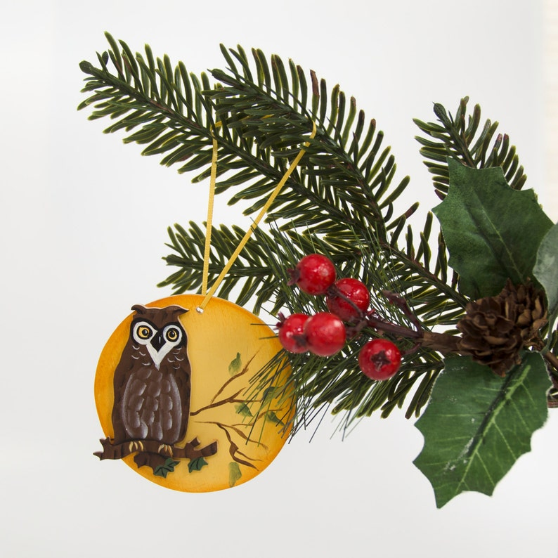 Owl and Full Moon Hand Painted Wooden Ornament