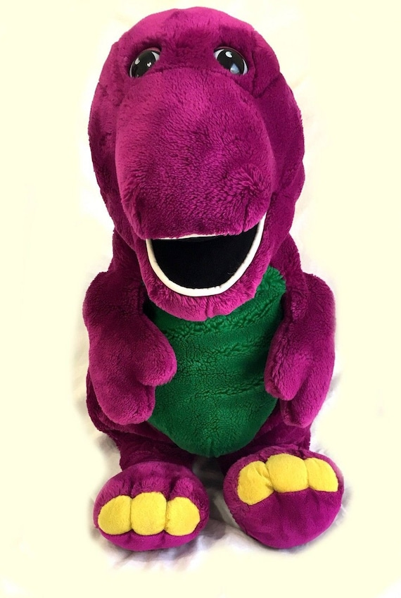Large Jumbo 27 Barney Purple Dinosaur Stuffed Plush Etsy