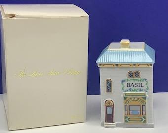 LENOX SPICE VILLAGE fine porcelain rack jar container cottage figural sculpture figurine vintage 1989 vtg kitchen storage decor Basil