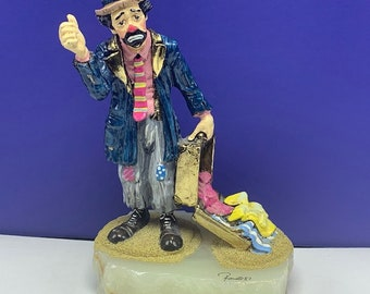 4905e37352a6 RON LEE SIGNED Circus clown sculpture statue figurine 24k gold karat dust  marble base mime hobo art emmett kelly bozo suit case clothes 6lbs