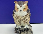 CHARLES EARNHARDT BRONZE wildlife collection figurine statue miniature sculpture vintage 1979 vtg signed art signature Great horned owl bird