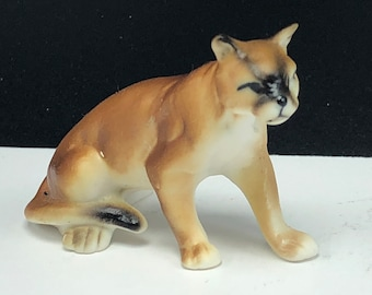 c9ea7ab76d12 BONE CHINA MINIATURE porcelain wilderness animal vintage figurine statue  sculpture collectible cougar cat wildcat mountain lion puma 3