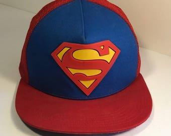 VINTAGE SUPERMAN HAT cap trucker style red blue snap back Man of steel  Clark Kent dc Comics super man 616f5619bb43