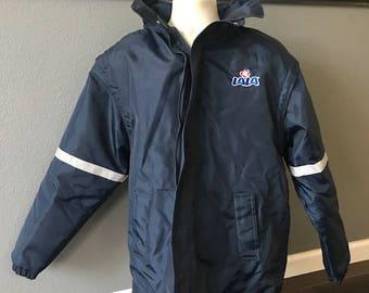 7034df9dd8e6 LA LA JACKET employee work navy blue long sleeve cloat medium restaurant  grocery advertising zipper drawstring hood