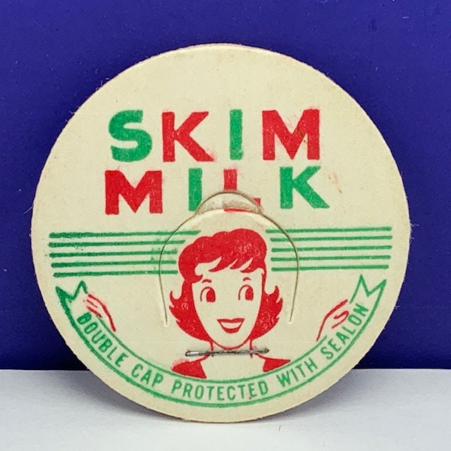 MILK BOTTLE CAP vintage dairy pasteurized farm advertising vtg cow pog 1930 ephemera paper label lid Meadow Grove Salem Oregon cream rieck