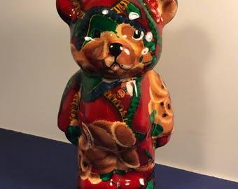 CHRISTMAS TEDDY BEAR figurine red green statue sculpture porcelain ginger bread man men holiday
