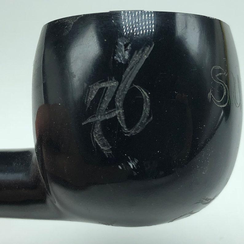 VINTAGE ESTATE PIPE imported briar tobacciana original smoking collectible England Uk tobacco 1976 Sugi asian japan black solid twist