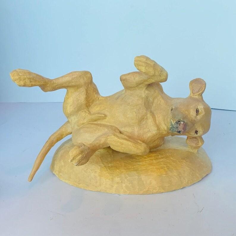 GOLDEN RETRIEVER SCULPTURE 1989 Peggy Cook Peg signed folk art statue figurine puppy dog stone paperweight gift decor yellow lab labrador